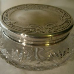 Sterling silver and cut glass dresser jar