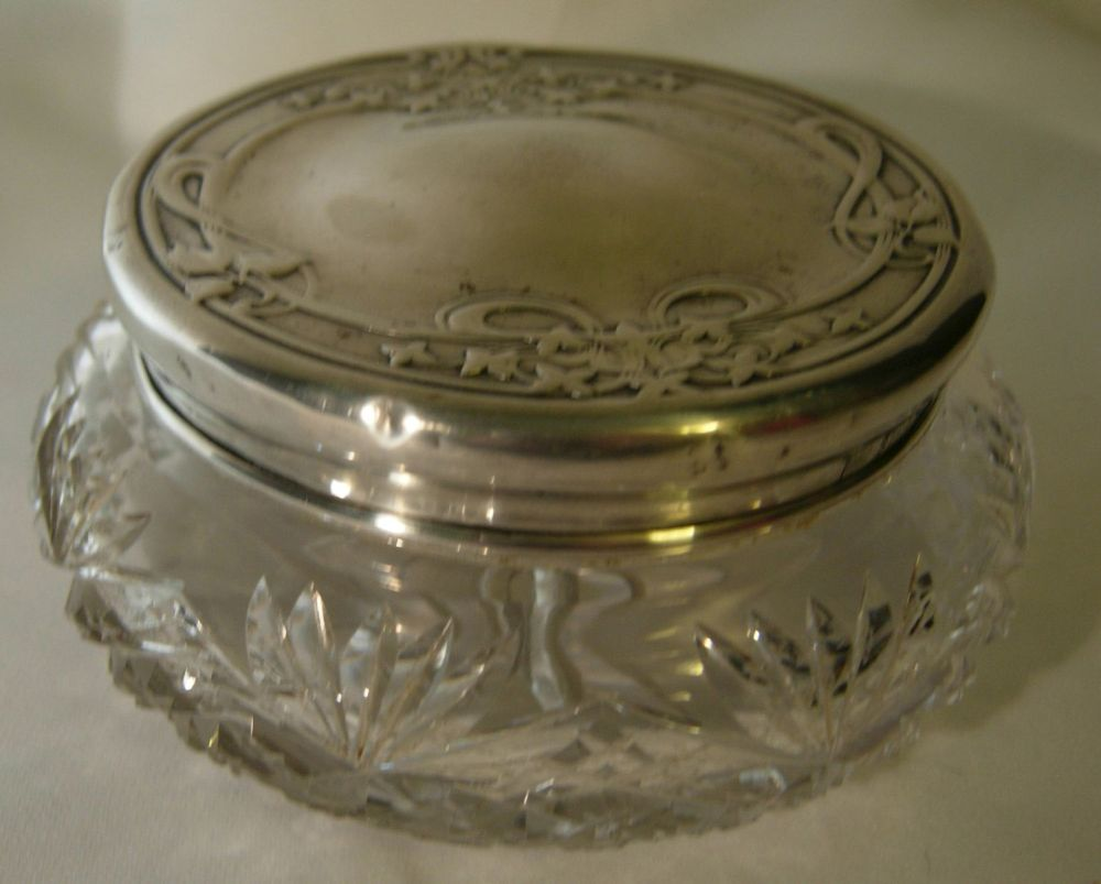 Sterling silver and cut glass dresser jar