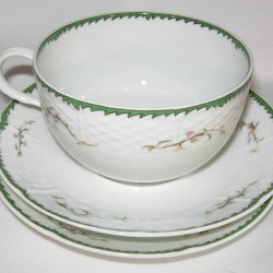 Porcelain breakfast cup and saucers