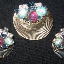 Clip earrings and brooch